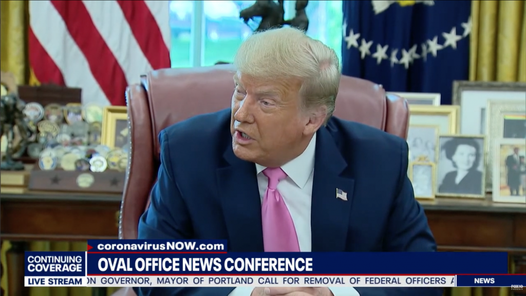 President Trump at a short Oval Office News conference