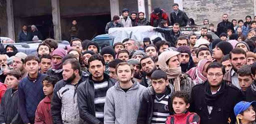 A demonstration in Al-Bab city in syria calls for the militants to leave the city.
